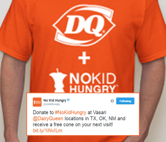 Dairy Queen promotional tweet: Donate to No Kid Hungry